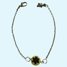 Bracelet with Yellow and Green Glass Bead and Sea Turtle