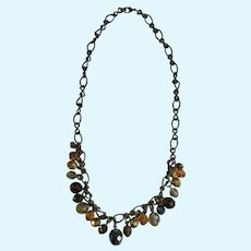 Bronze Colored Chain Necklace with Brown and Gold Beads