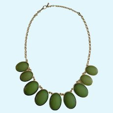 Large Beautiful Plastic Jade Colored Green and Gold-Tone Necklace
