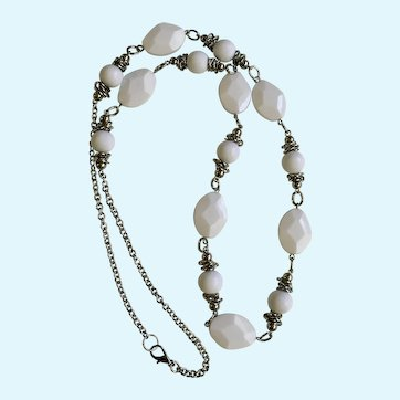 Long White Plastic Beads and Silver-Tone Chain Necklace