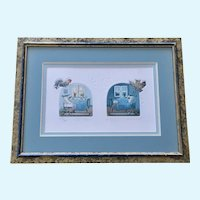 Day and Night Children's Embossed Etching Signed by European Artist Limited Edition