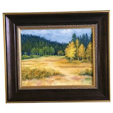 Forest Clearing Autumn Landscape Oil Painting Monogrammed
