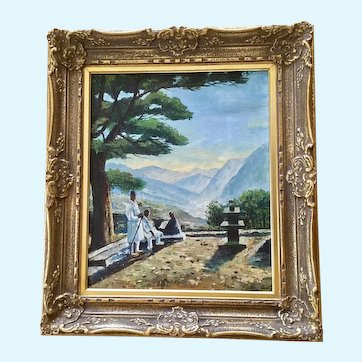 Korean Figural People in Traditional Outfits in Mountain Landscape Oil Painting