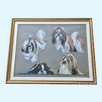 Diana Anderson Shih Tzu Dogs Portraits Pastel Painting Signed by Pennsylvania Artist