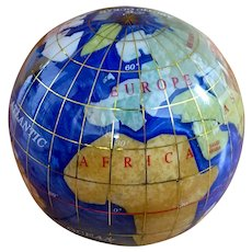 Inlaid Gemstone World Globe Paperweight with Mother of Pearl and Glass