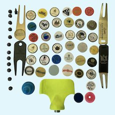 Collectable Locations Golf Ball Markers, Vintage Shoe Spikes and Divot Fork Tools