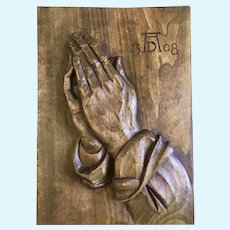 Vintage Praying Hands Germany Folk Art Wood Carving Wall Plaque