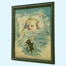 Vintage Baby Print Harry Rosland Child with Kitten Original Frame