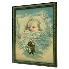 Vintage Baby Print Harry Rosland Child with Kitten Original Frame