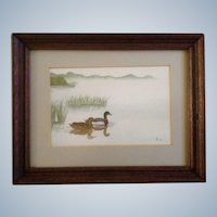 Mallard Ducks Watercolor Signed by Artist Mirna