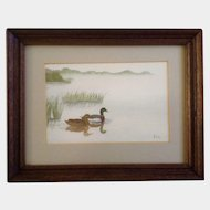 Two Mallard Ducks in a Pond Small Watercolor Works on Paper Signed by Artist Mirna