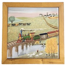 1982 Tile by Lowell Herrero Vandor Train in the Countryside in Wood Frame