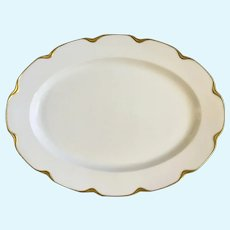 "White with Gold Trim Limoges France 16-1/8"" Serving Platter"