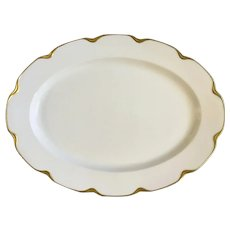 "White with Gold Trim Limoges France 16-1/8"" Serving Platter"