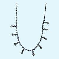 Beautiful Aquamarine Choker Rhinestone Necklace
