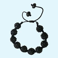 Sparkling Black Beaded Bracelet Adjustable