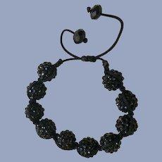 Sparkling Black Beaded Bracelet Adjustable