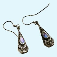 Dangling Sterling Silver and Abalone Fishhook Earrings