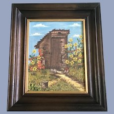 Sorensen, Outhouse Primitive Oil Painting Signed by Artist