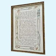 Vintage Framed Poem If You Have a Friend Worth Loving Handmade