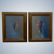 Tommy Hawk, Oil Paintings on Canvas Indian Chief & Native American Woman Profile With Poems Signed By Artist