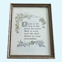 Vintage Framed Poem Christ is the Head of This House