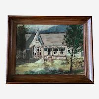 Gorgeous Victorian House on the Hill Oil Painting