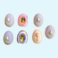Vintage Easter Flowers and Chicks Sugar Eggs