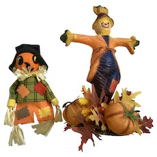 Vintage Halloween Thanksgiving Harvest Holiday Decorations Scarecrow Pumpkins Group