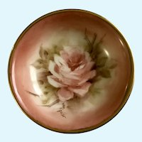 Vintage Miniature Hand Painted Rose Pin Dish Signed By Artist