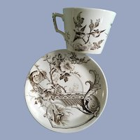 Melrose by Ashworth Bros Cup & Saucer Brown Transferware No. 12797