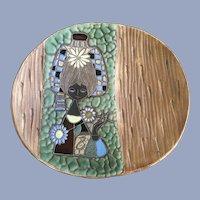 Mid-Century Titano Girl Italian Pottery San Marino Large Bowl Platter