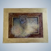 Virginia R. Gerber (Ginny), Oil Painting Cougar Lion Signed by Colorado Artist