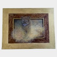 Virginia R. Gerber (Ginny), Oil Painting on Canvas Cougar Lion Jumping out of a Picture Signed by Colorado Artist