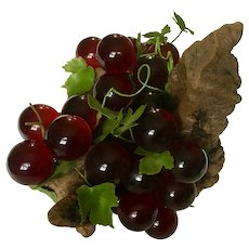 Large Mid-Century Lucite Red Grape Cluster on DriftWood Grapevine Stump