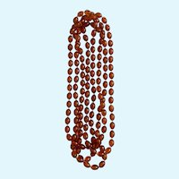 Endless Beaded Necklace Amber Colored Beads