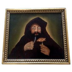 Oil Painting Monk Eating Pheasant 17th-18th Century Old Masters