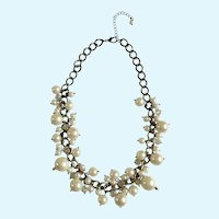 Dangling Pearl Colored Beads on Gold-tone necklace