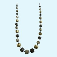 Silver-Tone, Gray and Gold-Tone Necklace
