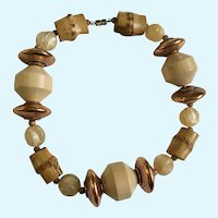 Wooden, Bamboo, Coper and Glass Beaded Necklace