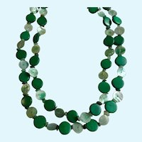 Two Stranded Emerald Green Necklace