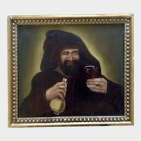 17th-18th Century Old Masters Antique Figural Oil Painting Monk