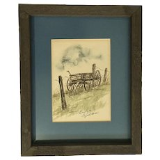 Evelyn Sjostrom, Old Wooden Wagon Landscape Watercolor Painting Signed By Artist