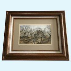 Ellen Jones, Old Home Landscape Watercolor Painting Signed by Artist