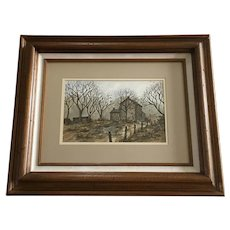 Ellen Jones, Old Home Landscape Watercolor Painting Signed by Artist