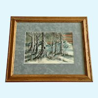Ron Lupton, Blue and Red Trees in Sunset Landscape Watercolor Painting Signed by Artist