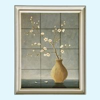 Still Life Budding Japanese Cherry Blossom Flowers in Vase Painting Oil Painting Signed
