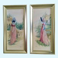 Mid-Century Victorian Ladies in Garden Landscape Watercolor Paintings Signed by Artist