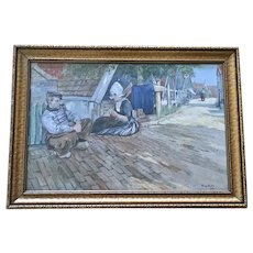 F. Gibson (1786-1834) Dutch Figural Street Scene Watercolor Painting Signed by Artist