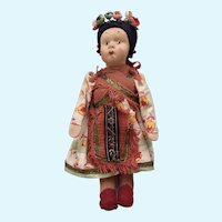 Vintage Pressed Cloth Face Doll Hungarian Girl with Flowers